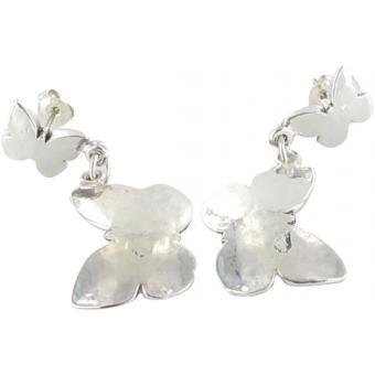 Boucles d'oreilles Deux Papillons Argentées - Ubu - Ubu