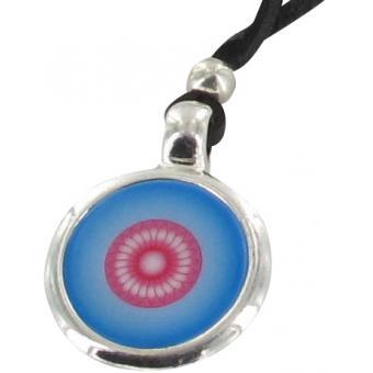 Collier Disque Métal Argenté Bleu - Ubu - Ubu