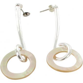 Boucles d'oreilles Anneaux Nacrés Argentées - Ubu - Ubu