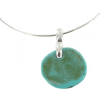 Collier Jonc Pendentif Galet Turquoise - Ubu - Ubu