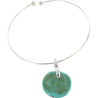 Collier Ubu 74A-01R - Collier Jonc Pendentif Galet Turquoise Femme