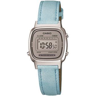 Montre Casio  LA670WEL-2AEF - Montre Rectangulaire Turquoise Tissu Femme