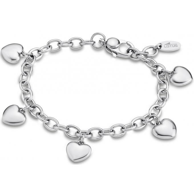 Bracelet Lotus Style LS1678,2,1 , Bracelet Coeur Entrelacé Argenté Femme