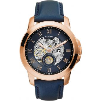 Montre Fossil ME3054 - Montre Ronde Cuir Or Rose Homme