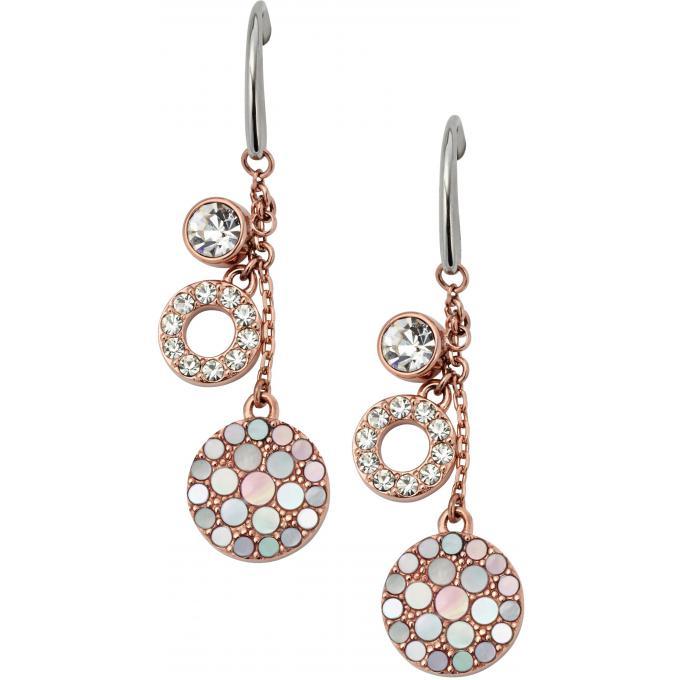 boucles d 39 oreilles fossil jf01738791 boucles d 39 oreilles pendantes ros es sur bijourama. Black Bedroom Furniture Sets. Home Design Ideas