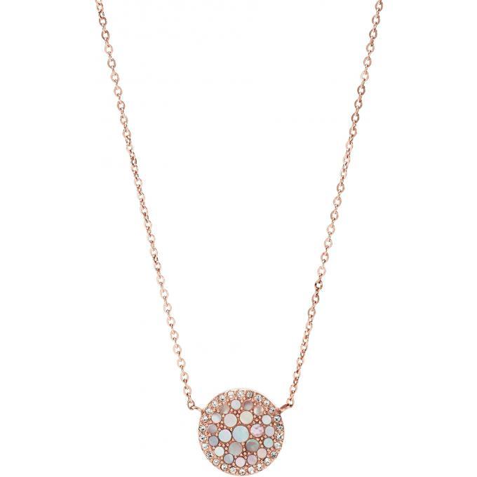 8a899243258 Collier et pendentif Fossil JF01740791 - Collier et pendentif Rosé Cristaux  Nacre Femme