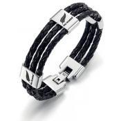 Bracelet All Blacks Bijoux Cuir Noir 682037 - Bijoux Createurs