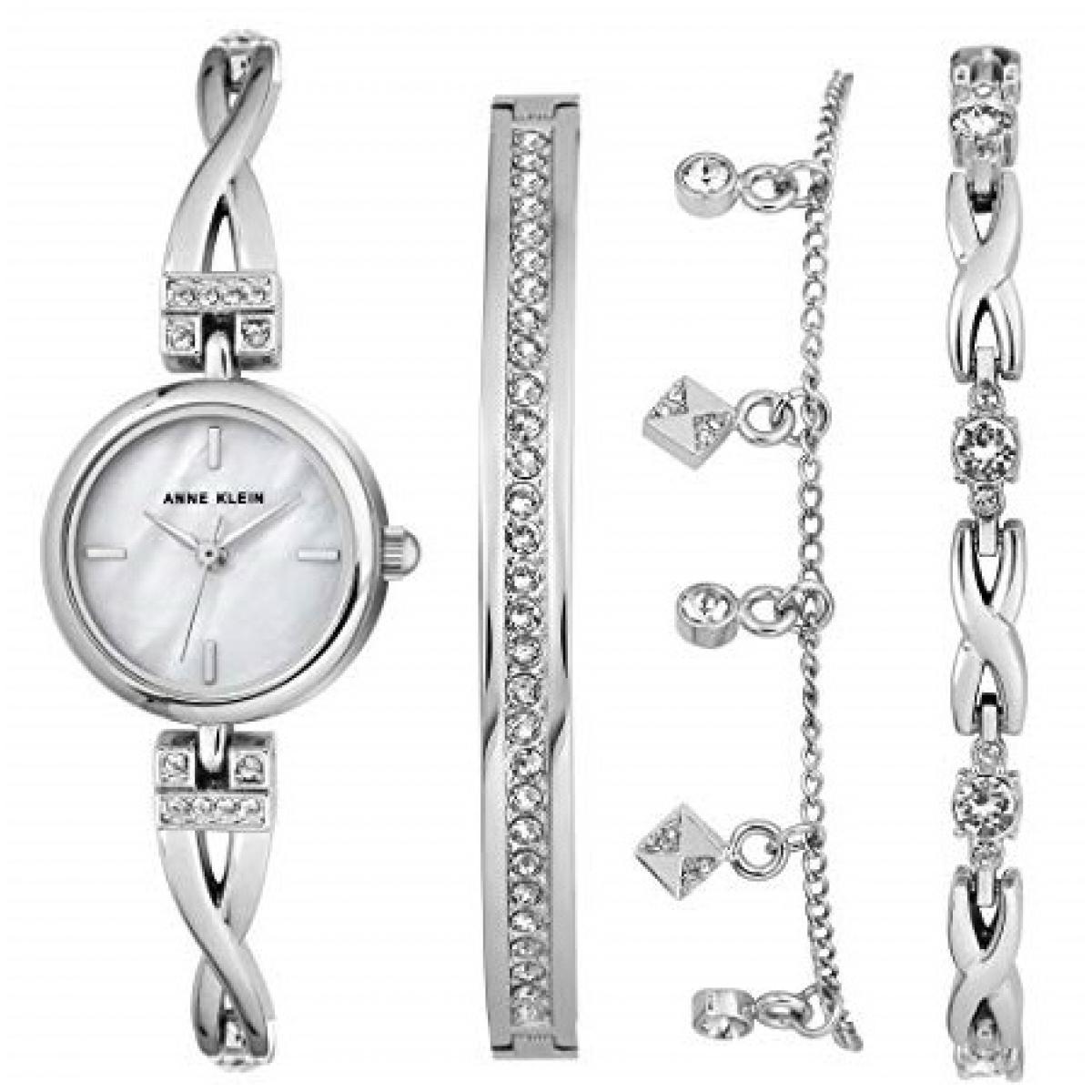 Coffret Anne Klein AK-3083SVST - Montre Cristaux Swarovski Bracelet Acier  Argent Boîtier Aluminium Argent Femme + Bracelets Bijoux