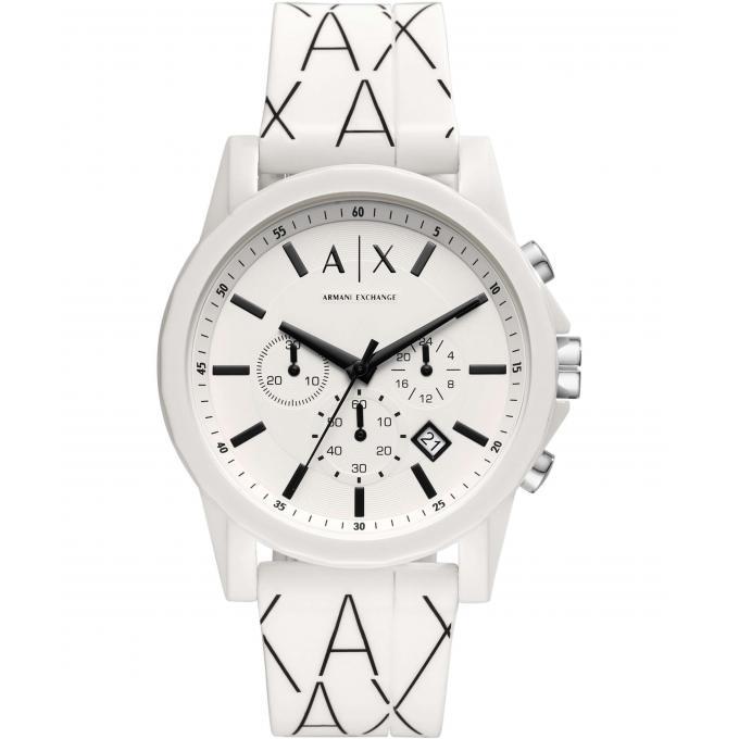 322434ccc5 Montre Armani Exchange AX1340 - Chronographe,Dateur Bracelet Silicone Blanc  Boitier Acier Blanc Homme
