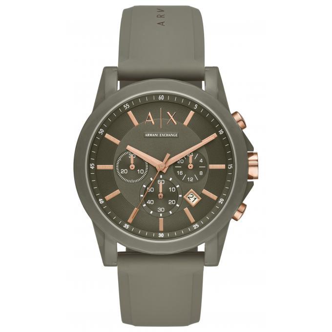 6a24273257 Montre Armani Exchange AX1341 - Chronographe,Dateur Bracelet Silicone Vert  Boitier Acier Vert Homme