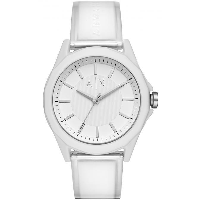 4a873a1307 Montre Armani Exchange AX2630 - Bracelet Plastique Transparent et Blanc  Boitier Acier Blanc Homme