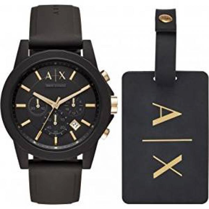 montre armani exchange ax7105 coffret montre silicone marron homme sur bijourama montre. Black Bedroom Furniture Sets. Home Design Ideas