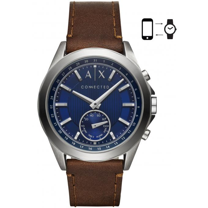montre armani exchange axt1010 hybride connect e cuir marron homme sur bijourama montre. Black Bedroom Furniture Sets. Home Design Ideas