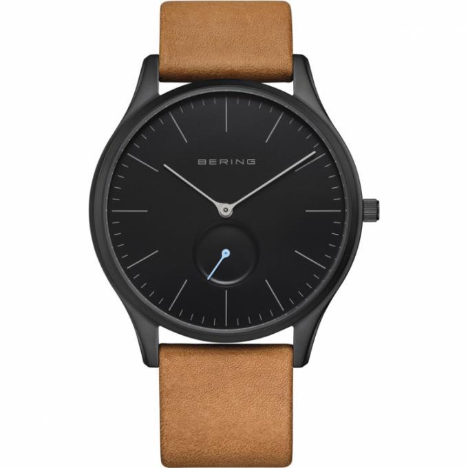Montre Bering 16641,522 , Boîtier acier noir brillant cadran noir bracelet  cuir marron Homme Plus d\u0027infos