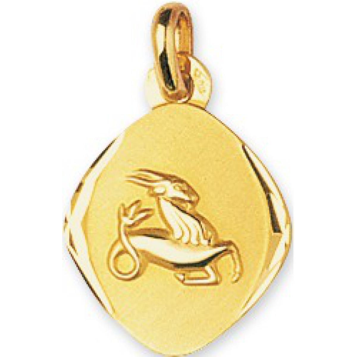 Médaille Signe Astrologique Capricorne Or 375/1000 jaune  (9K)