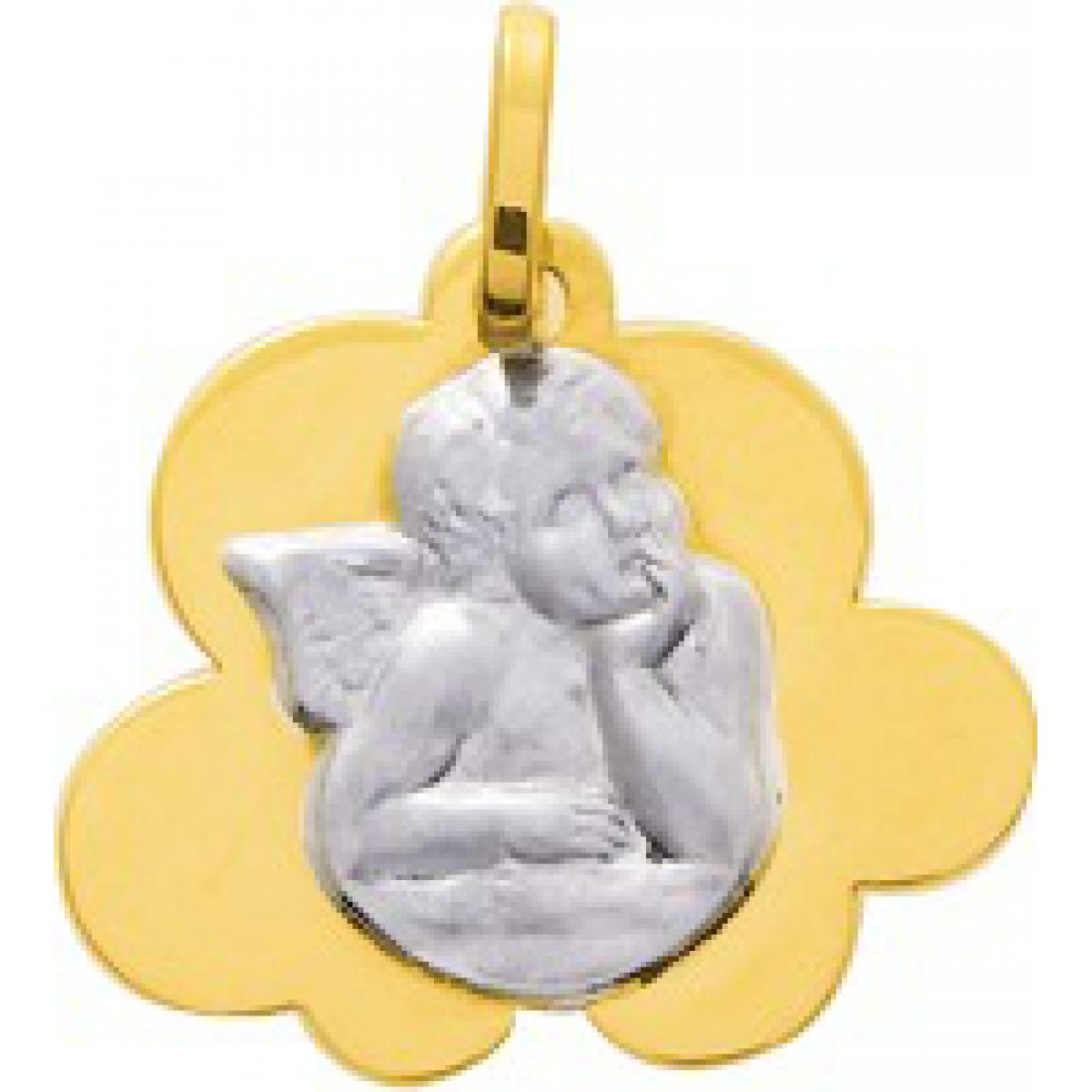 Médaille ange Or 375/1000 bicolore  (9K)