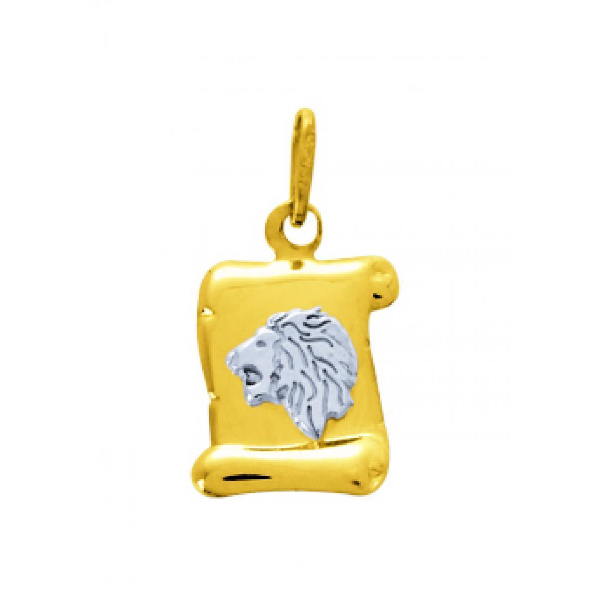 Médaille Signe Astrologique lion Or 375/1000 bicolore  (9K)