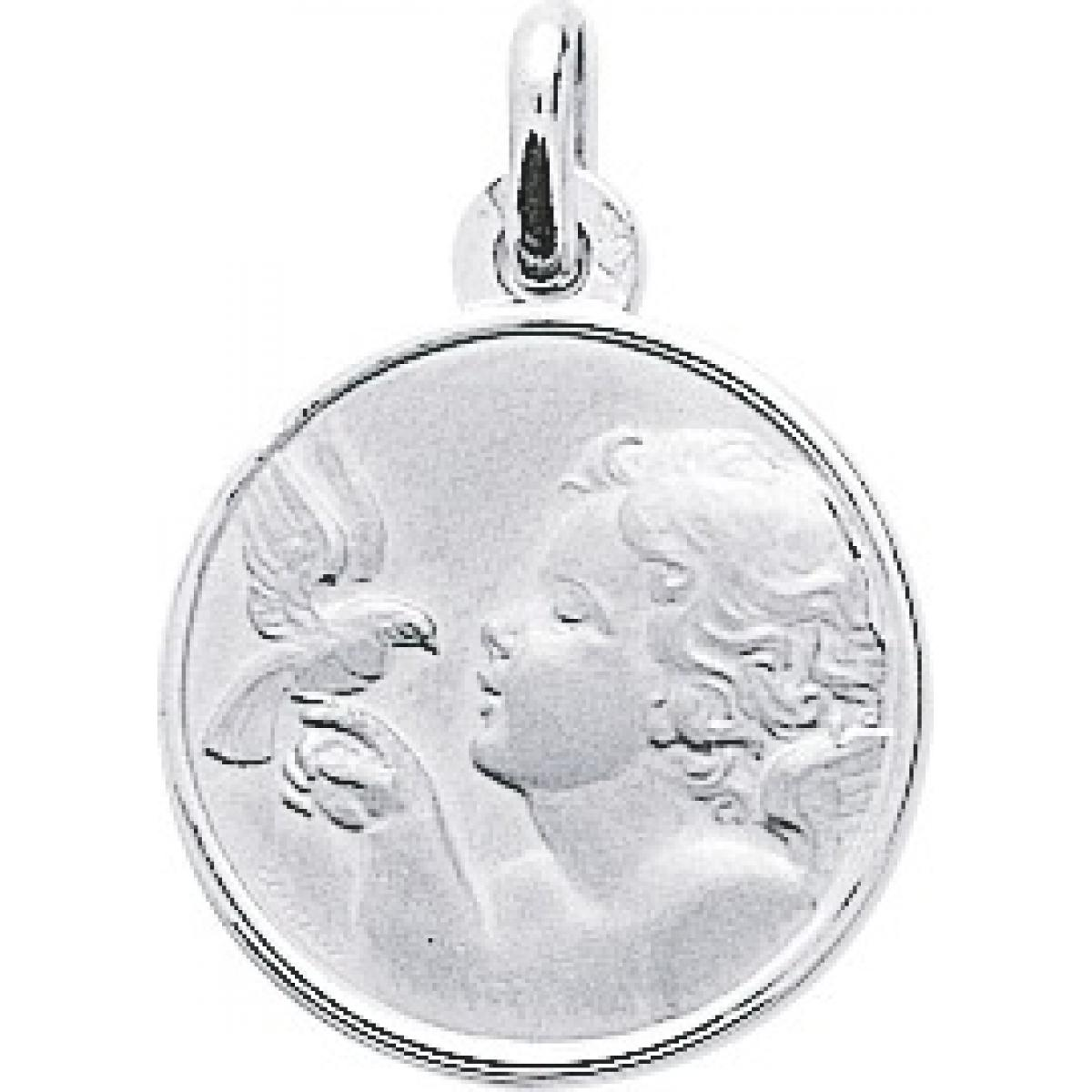 Médaille ange Or 375/1000 blanc (9K)