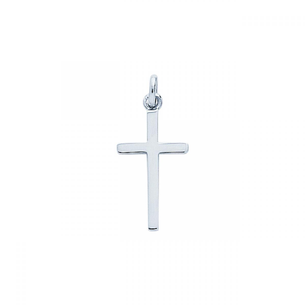 Pendentif Croix or 750/1000 blanc (18K)