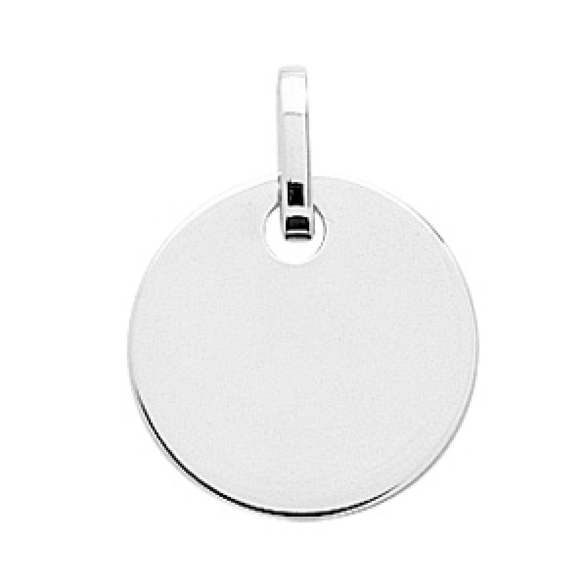 PLaque ronde or 750/1000 (18K) blanc