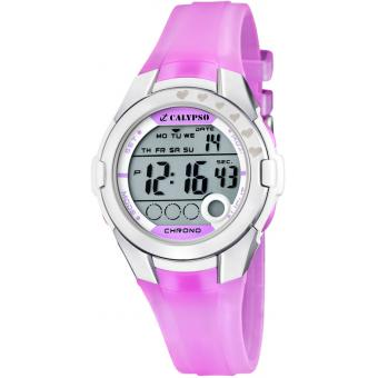 Montre Calypso K5571-3 - Montre Multifonctions Silicone Rose Fille