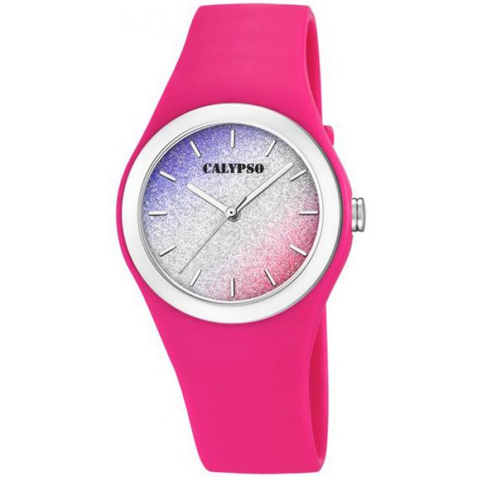 Promo   Montre Calypso K5754-5 - Montre Bracelet Silicone Rose Boitier  Silicone Rose Femme 87be2586b154