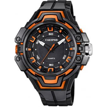 Montre Calypso K5687-3 - Montre Ronde Orange Homme