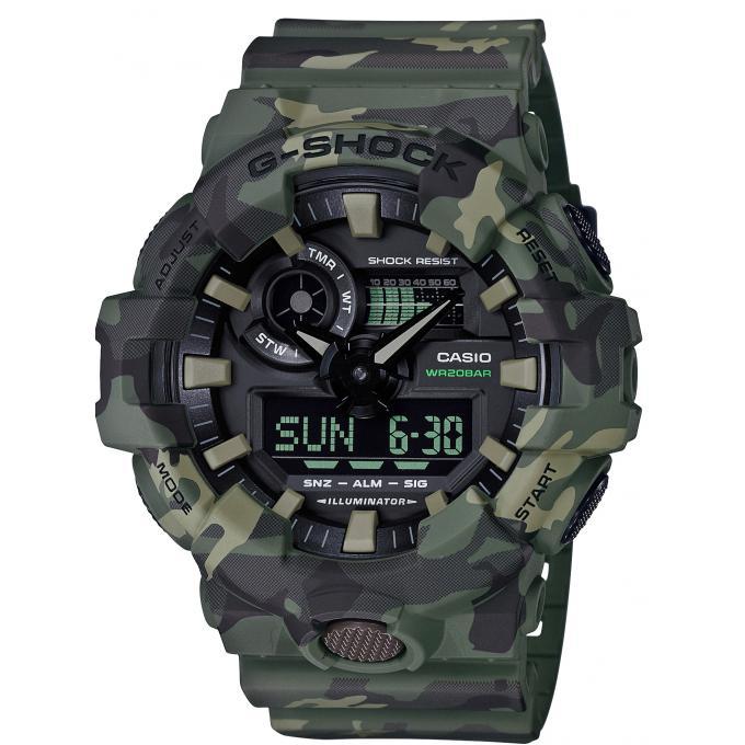 Shock Vert Digitale Camouflage Silicone Homme Ga Casio D'infos Plus Montre 3aer G 700cm PuiOXZk