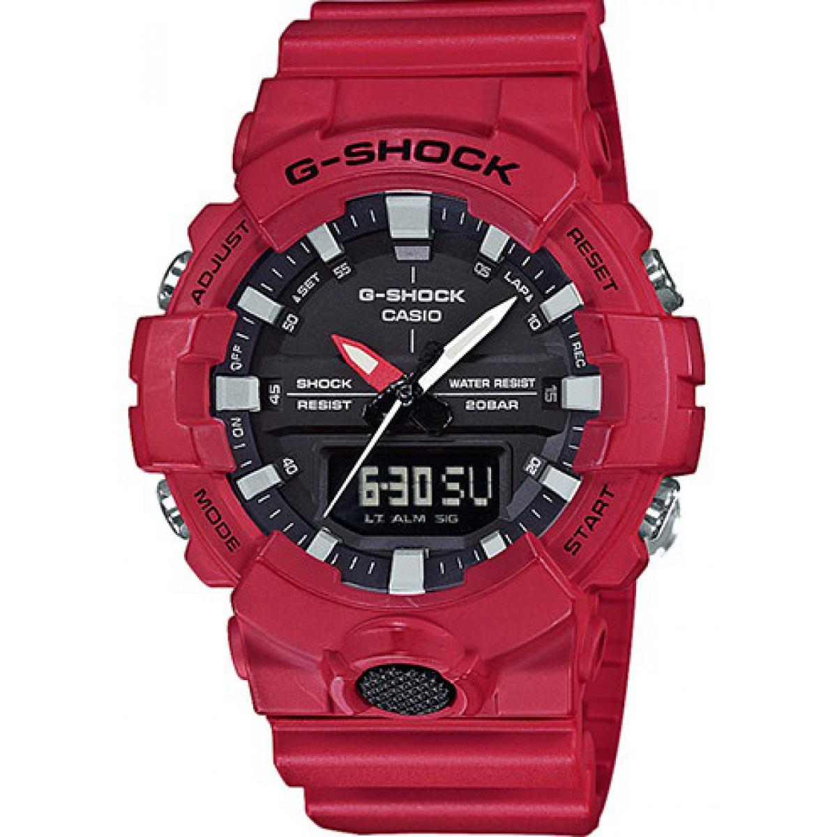 Montre Casio GA-800-4AER - Montre Chronographe Dateur Rouge Homme