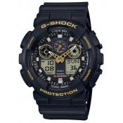 Casio - Montre Casio G-Shock Black & Gold GA-100GBX-1A9ER - Montre Noire Homme