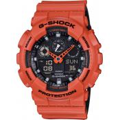 Montre Casio G-SHOCK GA-100L-4AER - Montre Multifonction Orange Homme