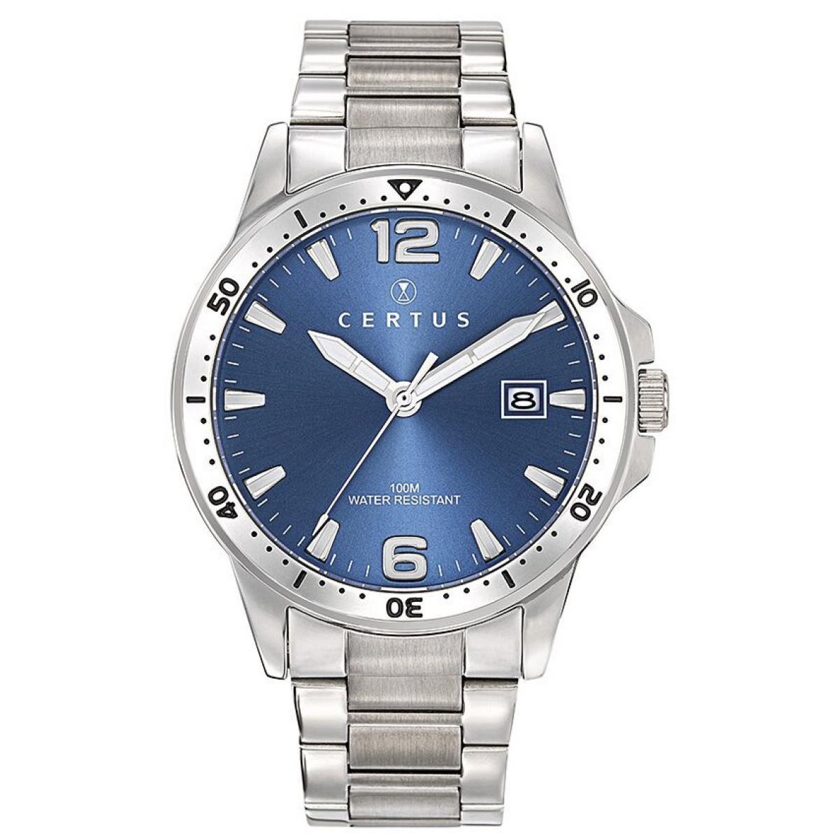 Montre Certus 616457 Dateur Acier Argenté Cadran Bleu Homme Plus d'infos
