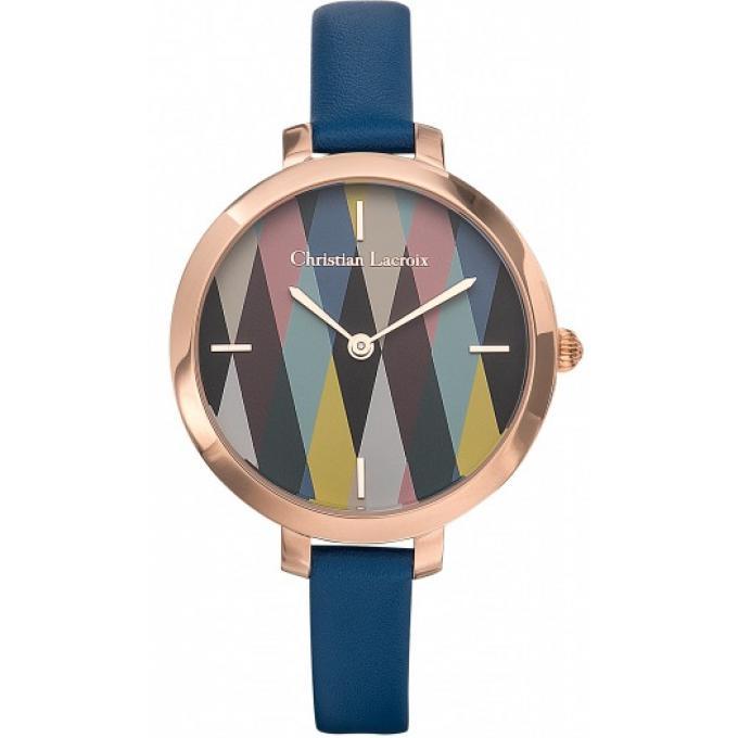 Montre Christian Lacroix 8009715 , Montre Acier IP Rose Bracelet Cuir Bleu  Femme