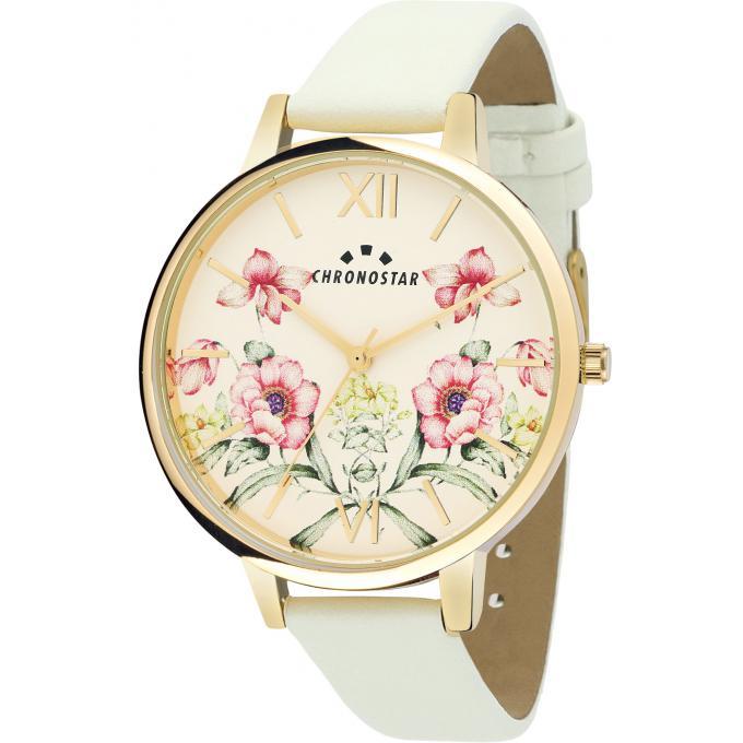 Montre chronostar r3751267504 montre fleur cuir blanc for Fleur a repiquer pas cher