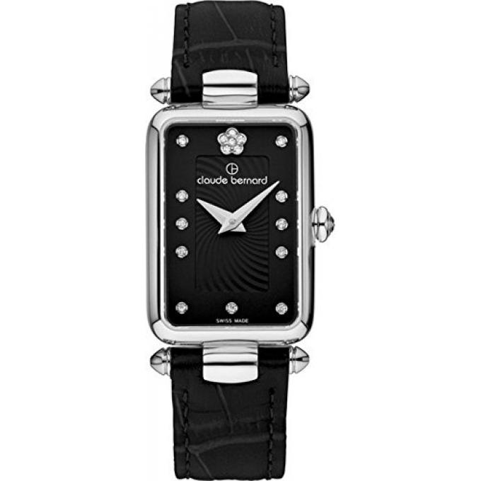 montre suisse claude bernard 20502 3 npn2 montre bracelet cuir cadran noir femme sur bijourama. Black Bedroom Furniture Sets. Home Design Ideas