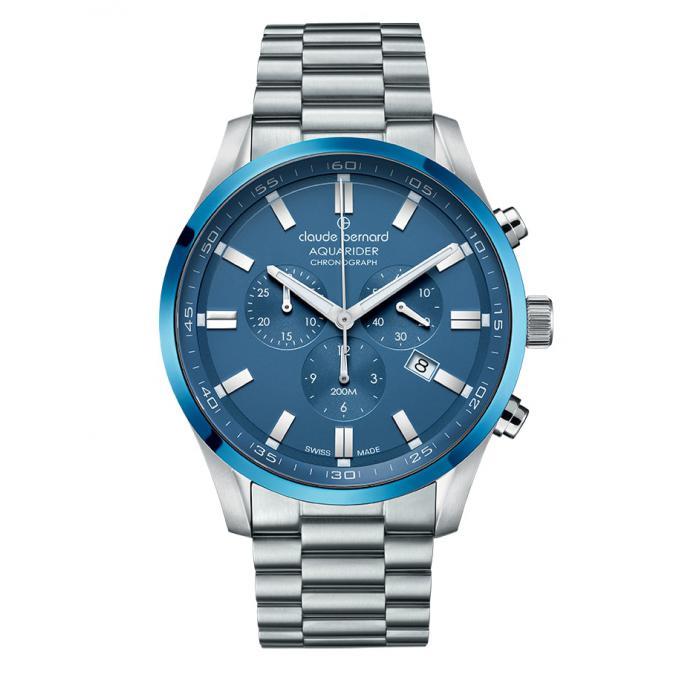 Montre Suisse Claude Bernard 10222 3MBU BUIN - Montre Chronographe Dateur Bleu Homme