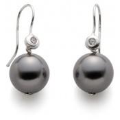 Boucles d'oreilles Perle gris foncé Swarovski et Brillant New Atelier Clio Blue