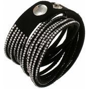 Bracelet Clyda Bijoux Cuir Noir C51283NZ