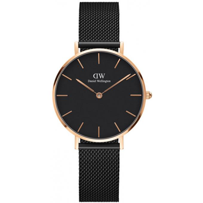 montre daniel wellington dw00100201 montre acier noir acier or rose femme sur bijourama. Black Bedroom Furniture Sets. Home Design Ideas