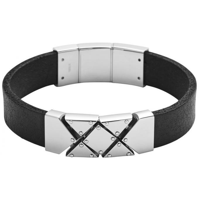 bracelet diesel dx0862040 bracelet argent cuir noir. Black Bedroom Furniture Sets. Home Design Ideas