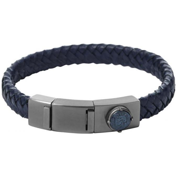 bracelet diesel dx0879060 bracelet cuir bleu homme sur. Black Bedroom Furniture Sets. Home Design Ideas