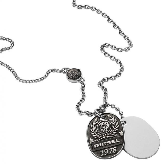 collier et pendentif diesel bijoux dx1106040 collier et pendentif acier double plaques homme. Black Bedroom Furniture Sets. Home Design Ideas
