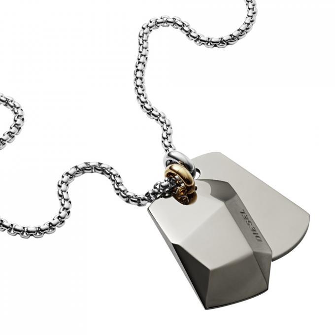 49673cd4126 Collier et pendentif Diesel Bijoux DX1143040 - Collier et pendentif Acier  Chromé 2 Plaques Homme