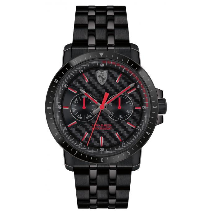 montre ferrari montres 830454 montre multifonctions quartz acier noir homme sur bijourama. Black Bedroom Furniture Sets. Home Design Ideas