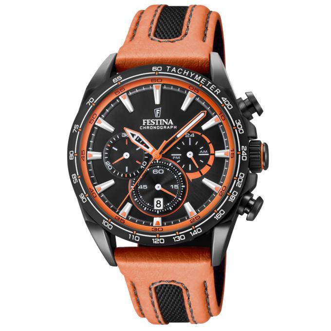 748f0f7bd8a7c Montre Festina F20351-5 - THE ORIGINALS Chronographe Bracelet Cuir Orange  Boitier Acier Noir Homme