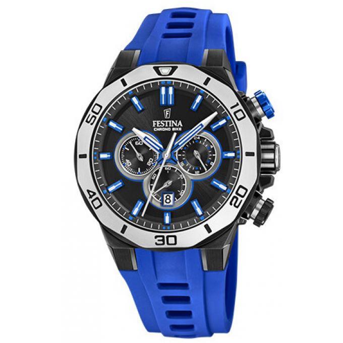 052ad1f047a09 Montre Festina F20450-5 - CHRONOBIKE Chronographe,Dateur Bracelet Silicone  Bleu Boitier Acier Noir