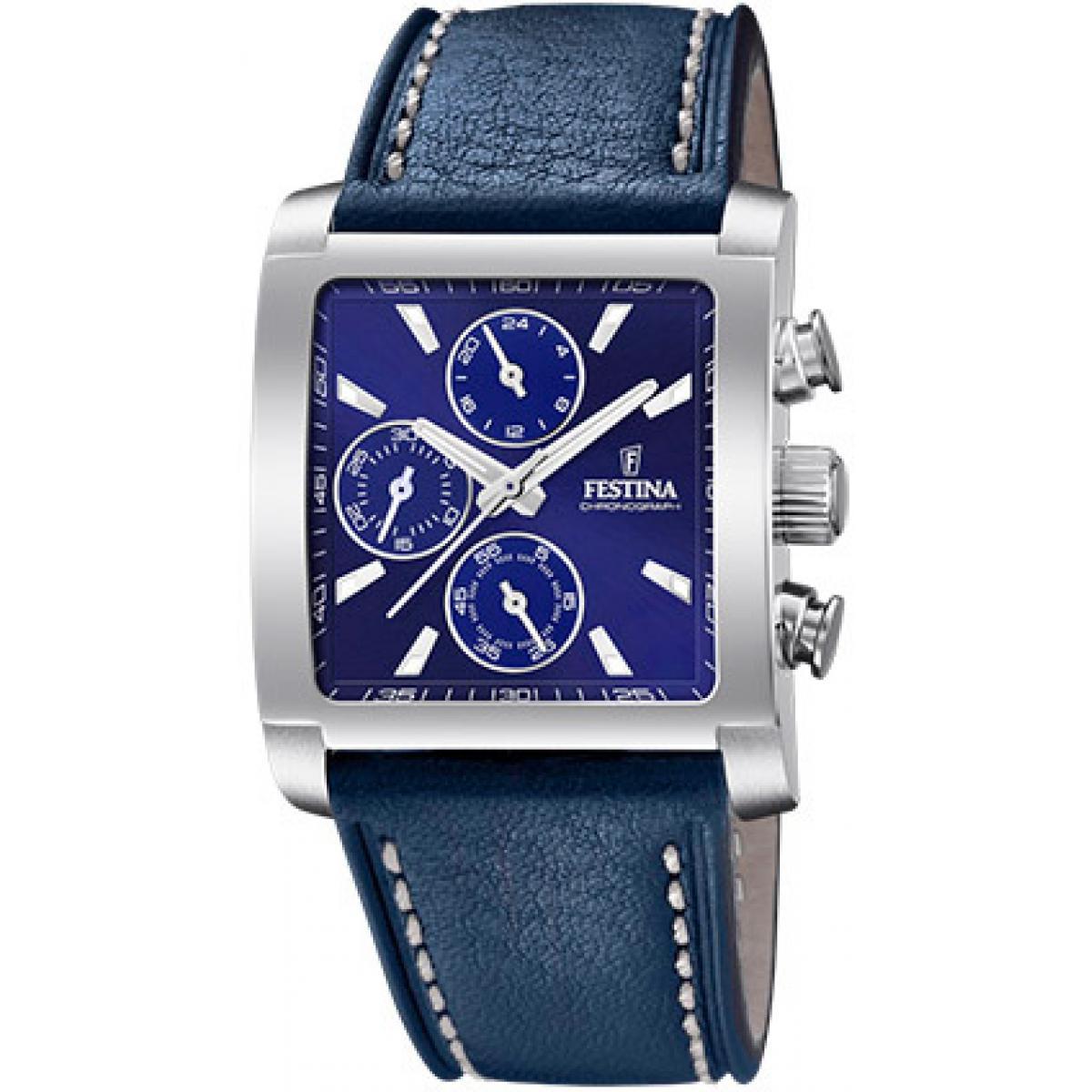 bracelet cuir bleu montre homme
