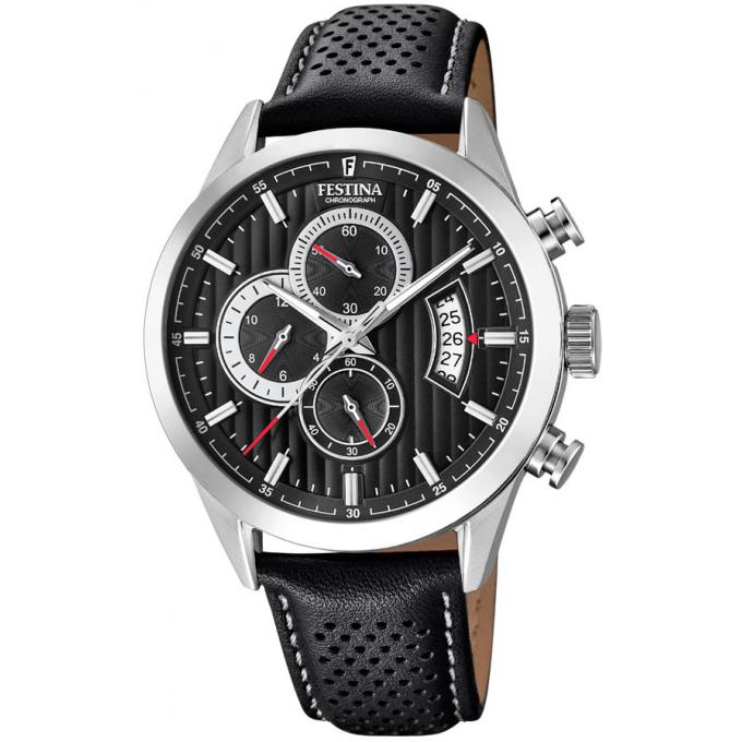 montre festina chrono sport f20271 6 montre cuir noire chronographe homme sur bijourama. Black Bedroom Furniture Sets. Home Design Ideas