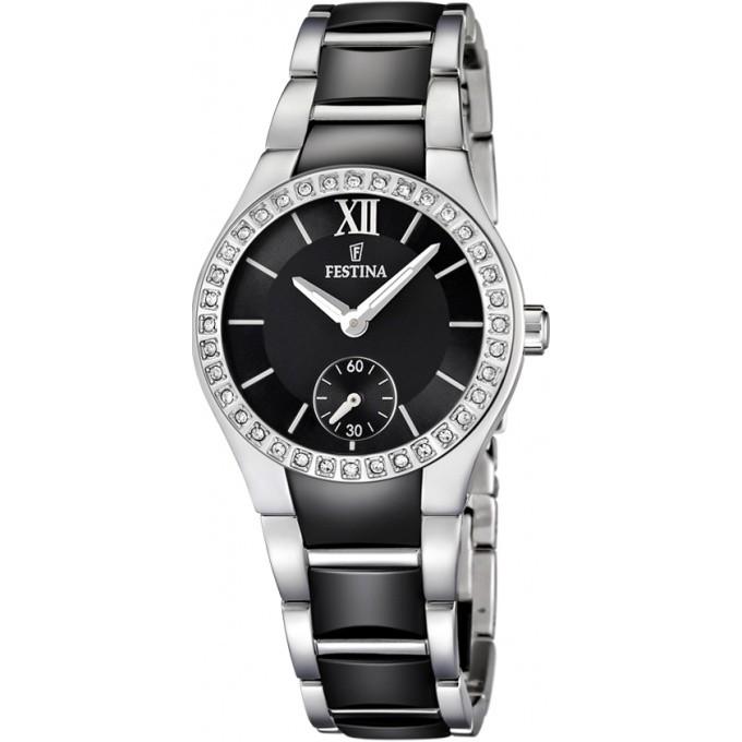 montre festina contact f16637 2 montre noire ceramique strass femme