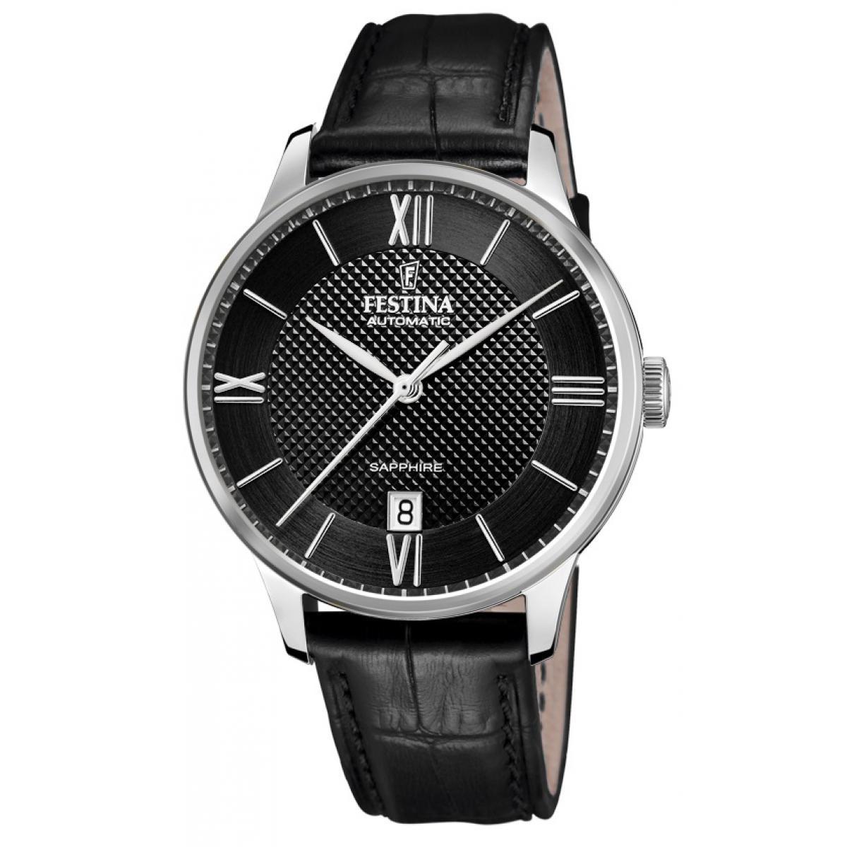 bracelet cuir noir montre homme